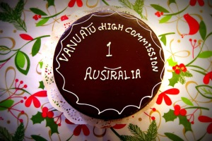 A cake to commemorate the first anniversary of the Vanuatu High Commission establishment in Australia.